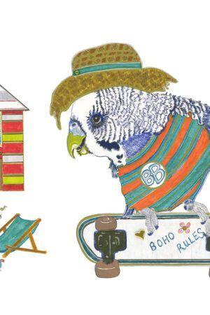 Birds Go Boho CARD SET (6) Six